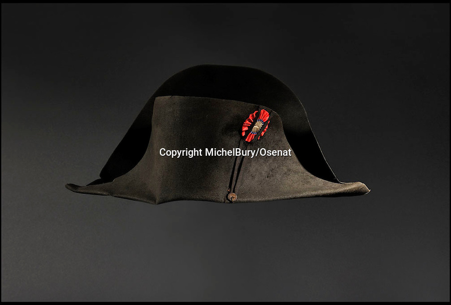 BNPS.co.uk (01202 558833)<br /> Pic: MichelBury/Osenat/BNPS<br /> <br /> ***Please Use Full Byline***<br /> <br /> A hat once worn by French ruler Napoleon. <br /> <br /> An iconic hat once owned and worn by Napoleon Bonaparte 200 years ago has emerged for sale for £500,000.<br /> <br /> The black felt bicorne hat the legendary French dictator was famed for wearing sideways on was one of about 120 he had during his reign from 1804 to 1815.<br /> <br /> It is to be sold later this week in France.