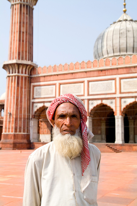 Portrait at Muslim Mosque in Delhi India , Jama Masjid,  the largest in India