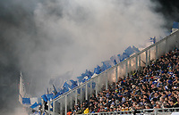 Karlsruher Fans mit Bengalos - 29.10.2019: SV Darmstadt 98 vs. Karlsruher SC, Stadion am Boellenfalltor, 2. Runde DFB-Pokal<br /> DISCLAIMER: <br /> DFL regulations prohibit any use of photographs as image sequences and/or quasi-video.