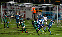 Plymouth attack the Wycombe goal during the 4 minutes of injury time during the Sky Bet League 2 match between Wycombe Wanderers and Plymouth Argyle at Adams Park, High Wycombe, England on 14 March 2017. Photo by Andy Rowland / PRiME Media Images.