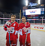 31 December 2013: Former Detroit Red Wings forward Sergei Fedorov, left, and forward Steve Yzerman pose for a photo after the Toronto Maple Leafs v Detroit Red Wings Alumni Showdown hockey game, at Comerica Park, in Detroit, MI.