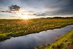 Idaho South Central, Camas County, Fairfield. Sunset light over the Centennial Marsh in spring.