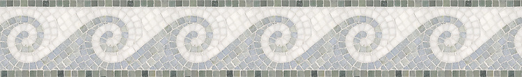 "6"" Viesta border, a hand-cut mosaic shown in polished Celeste, Thassos, and Kay's Green by New Ravenna."