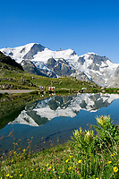 CHE, Schweiz, Kanton Bern, Berner Oberland, Sustenpass (2.224 m) - Grenze der Kantone Bern und Uri: Sustenseeli vorm Steingletscher | CHE, Switzerland, Bern Canton, Bernese Oberland, Sustenpass (2.224 m) - border of cantones Bern + Uri: Sustenseeli Lake in front of Stein Glacier (Stone Glacier)