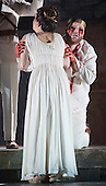 """Pictured: Roland Wood as Oedipus, the King and Julia Sporsen as Antigone, his daughter. Dress rehearsal of Thebans. English National Opera gives world premiere of British composer Julian Anderson's first opera """"Thebans"""" at the London Coliseum. Thebans is based on the three Theban plays by Sophocles that chronicle the cursed life of Oedipus and his daughter Antigone. Thebans opens at the London Coliseum on 3 May 2014 for 7 performances. The new production is supported by The Boltini Trust, PRS for Music Foundation and ENO's Contemporary Opera Group, a co-production with Theater Bonn in Germany. With Roland Wood as Oedipus, Peter Hoare as Creon (Jocasta's brother), Matthew Best as Tiresias (blind prophet), Susan Bickley as Jocasta (Oedipus' mother/wife) and Julia Sporsen as Antigone (Oedipus' daugher). Score by Julian Anderson, libretto by Frank McGuinness, directed by Pierre Audi and conducted by Edward Gardner."""