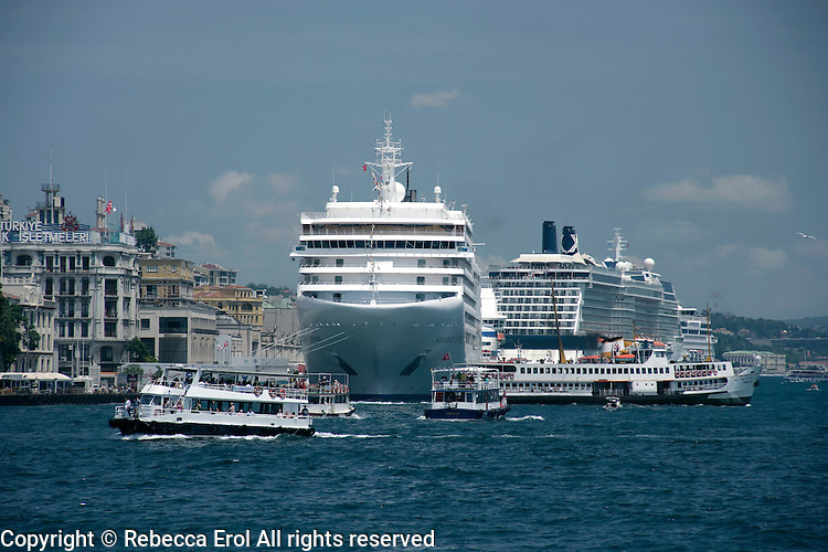 Shipping at the point where the Golden Horn, Sea of Marmara and Bosphorus meet at Karakoy, Istanbul, Turkey: cruise ships and  ferries