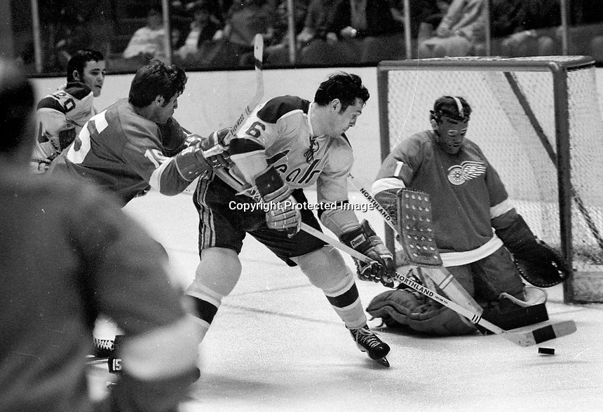 Seals Dick Mattiussi tries to score on Red Wing goalie Joe Daley..#5 is Phil Russell  .....(1971 photo/Ron Riesterer)