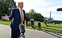 June 20, 2019 - Washington, DC - United States : President Donald Trump makes remarks to the press as he departs the White House, Washington, DC, for a weekend at the presidential retreat at Camp David, Maryland.   <br /> Credit: Mike Theiler / Pool via CNP /MediaPunch