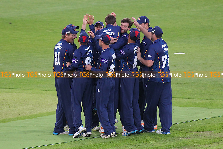 Matt Salisbury of Essex is congratulated on the wicket of Michael Carberry - Hampshire CCC vs Essex Eagles - NatWest T20 Blast Cricket at the Ageas Bowl, West End, Hampshire - 30/05/14 - MANDATORY CREDIT: Gavin Ellis/TGSPHOTO - Self billing applies where appropriate - 0845 094 6026 - contact@tgsphoto.co.uk - NO UNPAID USE