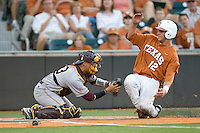 Texas Longhorns baserunner Jacob Felts #12 is tagged out as he slides into home against Arizona State Sun Devls catcher Austin Barnes #13 in NCAA Tournament Super Regional baseball on June 10, 2011 at Disch Falk Field in Austin, Texas. (Photo by Andrew Woolley / Four Seam Images)