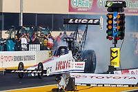 Jul 29, 2016; Sonoma, CA, USA; NHRA top fuel driver Richie Crampton during qualifying for the Sonoma Nationals at Sonoma Raceway. Mandatory Credit: Mark J. Rebilas-USA TODAY Sports