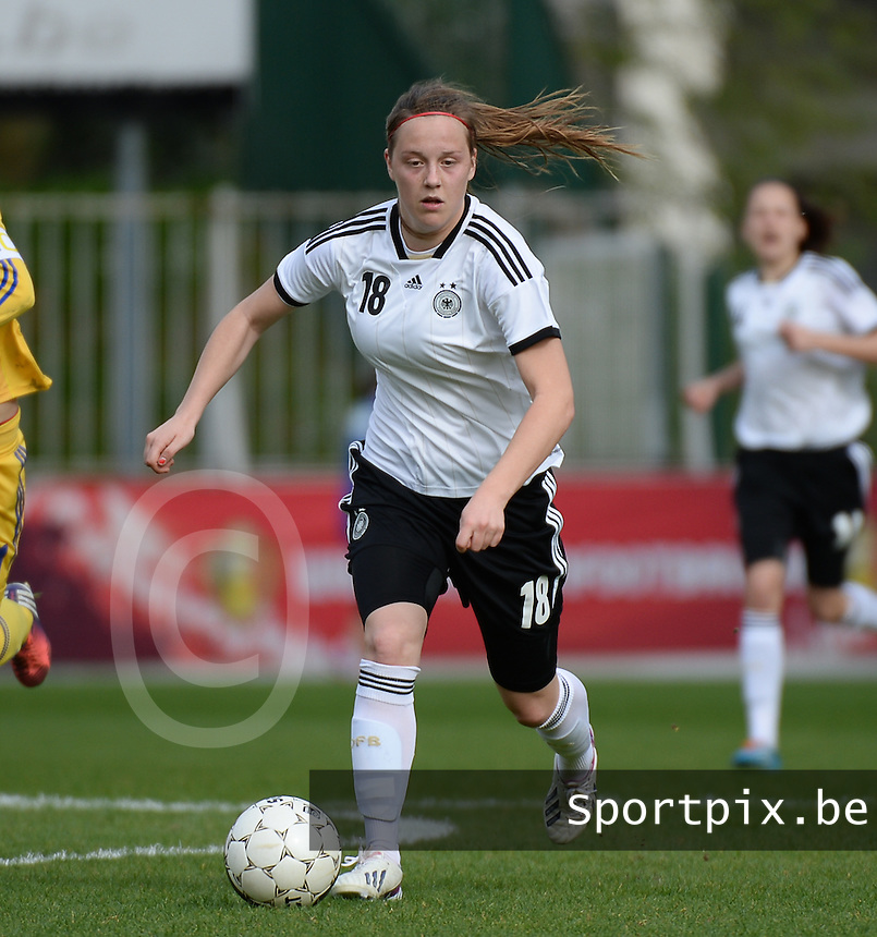 20140407 - BRUSSELS , BELGIUM : German Sonja Giraud pictured during the female soccer match between GERMANY U19 and UKRAINE U19 , in the second game of the Elite round in group 4 in the UEFA European Women's Under 19 competition 2014 in the Edmond Machtens Stadion , Monday 7 April 2014 in Brussels . PHOTO DAVID CATRY