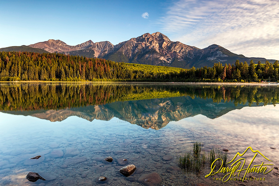 A peaceful morning at Patricia Lake beneath the towering Pyramid Mountain in Jasper National Park