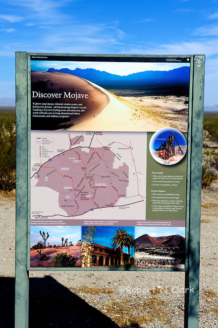 Interpretive Map sign at the Essex Rd entrance to the Mojave National Preserve