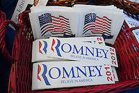 Tempe, Arizona. October 13, 2012 - A political rally held in Tempe, Arizona offered registered voters campaign materials on various candidates running in the November 6 election, including bumper stickers of presidential Republican candidate Mitt Romney. Hundreds of Arizona registered voters participated in a political rally where candidates for the US Senate, House of Representatives, state legislature, Maricopa County and other public offices pitched for votes for the upcoming general election. Photo by Eduardo Barraza © 2012