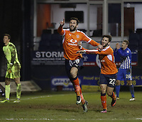 Ollie Palmer of Luton Town celebrates his sides third goal during the Sky Bet League 2 match between Luton Town and Hartlepool United at Kenilworth Road, Luton, England on 14 March 2017. Photo by Liam Smith.