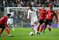 Joe Willock (Arsenal) of England U21 takes on Marko Raguž (LASK Linz) (9) & Sandi Lovrić (FC Lugano) (10) of Austria U21 during the UEFA Euro U21 International qualifier match between England U21 and Austria U21 at Stadium MK, Milton Keynes, England on 15 October 2019. Photo by Andy Rowland.
