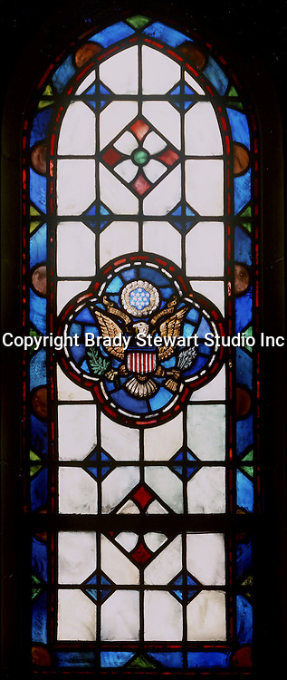 East Liberty section of Pittsburgh PA:  East Liberty Presbyterian Church's Wayfarers' Chapel - 1977. This image is included in the book; The Art and Architecture of the East Liberty Presbyterian Church.  This window was designed by Howard G. Wilbert and illustrates the Great Seal of the United States.