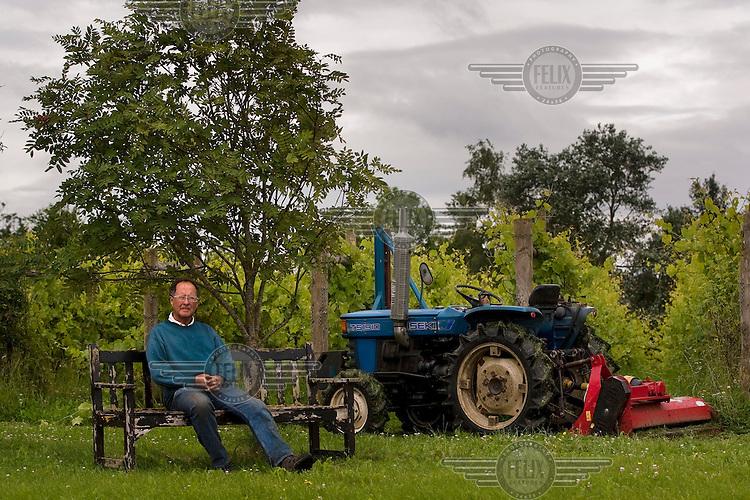 Organic winemaker (vintner), Alan Chubb, at Quoins Vineyard in Bradford-on-Avon.