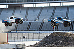 Speed Energy Stadium Super Trucks in action before the RainGuard 600 race at Texas Motor Speedway in Fort Worth,Texas.