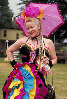 Portrait of a brightly costumed woman at the Bullwacker Days Festival in Kansas, women, female, smiling MR#99; Mahaffie House NOT PR; restrictions may be waived--contact photographer. Olathe Kansas, Kanasas City area.