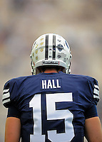 Sept. 19, 2009; Provo, UT, USA; BYU Cougars quarterback (15) Max Hall against the Florida State Seminoles at LaVell Edwards Stadium. Florida State defeated BYU 54-28. Mandatory Credit: Mark J. Rebilas-