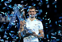 Grigor Dimitrov 2017 winner with the trophy<br /> <br /> Photographer Rob Newell/CameraSport<br /> <br /> International Tennis - Nitto ATP World Tour Finals - O2 Arena - London - Day 8 - Sunday 19th November 2017<br /> <br /> World Copyright © 2017 CameraSport. All rights reserved. 43 Linden Ave. Countesthorpe. Leicester. England. LE8 5PG - Tel: +44 (0) 116 277 4147 - admin@camerasport.com - www.camerasport.com
