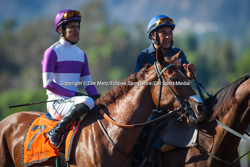 "September 26, 2015: Land Over Sea in the post parade for the Breeders' Cup ""Win and You're In"" Chandelier Stakes at Santa Anita Park in Arcadia, California. Zoe Metz/ESW/CSM"