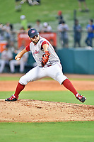 Southern Divisions pitcher Devon Fisher (44) of the Greenville Drive delivers a pitch during the South Atlantic League All Star Game at First National Bank Field on June 19, 2018 in Greensboro, North Carolina. The game Southern Division defeated the Northern Division 9-5. (Tony Farlow/Four Seam Images)