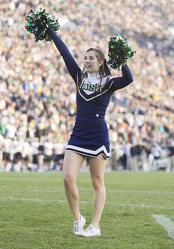 November 17, 2012:  Notre Dame cheerleader Olivia Lee performs during NCAA Football game action between the Notre Dame Fighting Irish and the Wake Forest Demon Deacons at Notre Dame Stadium in South Bend, Indiana.  Notre Dame defeated Wake Forest 38-0.