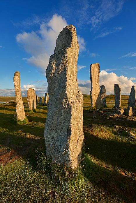 Monolith of Calanais Neolithic Standing Stone (Tursachan Chalanais) , Isle of Lewis, Outer Hebrides, Scotland.