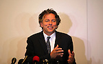 Dutch Foreign Minister Bert Koenders, speaks during a press conference at Roots Hotel in Gaza City on July 15, 2015. Koenders, visited the Kerem Shalom Crossing in southern Israel, which borders Gaza, to inaugurate a new security scanning system. The machine was donated by the Netherlands, and aims to increase the number of trucks crossing into Gaza from Israel. Photo by Ashraf Amra
