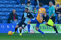 Wycombe Wanderers Michael Harriman crosses the ball that leads to their opening goal during the Sky Bet League 2 match between Mansfield Town and Wycombe Wanderers at the One Call Stadium, Mansfield, England on 31 October 2015. Photo by Garry Griffiths.