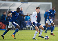 Luke Amos of Tottenham Hotspur and Bassala Sambou of Everton during the U23 - Premier League 2 match between Tottenham Hotspur U23 and Everton at Tottenham Training Ground, Hotspur Way, England on 15 January 2018. Photo by Vince  Mignott / PRiME Media Images.