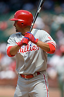 Philadelphia Phillies OF Shane Victorino against the Houston Astros on Sunday April 11th, 2010 at Minute Maid Park in Houston, Texas.  (Photo by Andrew Woolley / Four Seam Images)