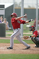 David Nick #16 of the Arizona Diamondbacks plays in a minor league spring training game against the Cincinnati Reds at the Diamondbacks minor league complex on March 15, 2011  in Scottsdale, Arizona. .Photo by:  Bill Mitchell/Four Seam Images.