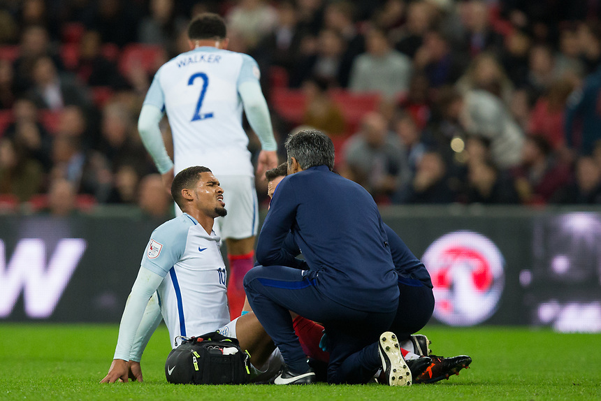 England's Ruben Loftus-Cheek down with an injury <br /> <br /> Photographer Craig Mercer/CameraSport<br /> <br /> The Bobby Moore Fund International - England v Brazil - Tuesday 14th November 2017 Wembley Stadium - London  <br /> <br /> World Copyright &copy; 2017 CameraSport. All rights reserved. 43 Linden Ave. Countesthorpe. Leicester. England. LE8 5PG - Tel: +44 (0) 116 277 4147 - admin@camerasport.com - www.camerasport.com
