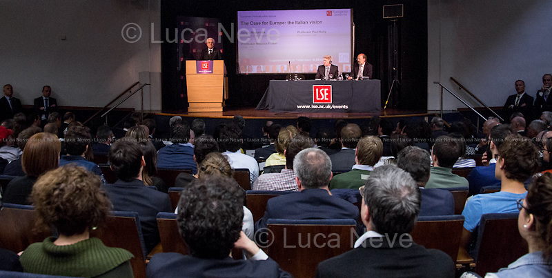 (From L to R) Sergio Mattarella, Paul Kelly &amp; Maurice Fraser. <br /> <br /> London, 28/05/2015. Today, the LSE (London School of Economics and Political Studies) European Institute presented a public lecture called &quot;The Case for Europe: the Italian vision&quot; hosted by the President of the Italian Republic Sergio Mattarella (Italian Politician, lawyer and judge; he is the 12th President of the Italian Republic; he was a member of Parliament from 1983 to 2008 elected for the Christian Democracy Party in the western Sicily constituency; he served as Minister of Education from 1989 to 1990, as Deputy Prime Minister of Italy from 1998 to 1999 and as Minister of Defence from 1999 to 2001. In 2011, he became an elected judge on the Constitutional Court). Chairs of the event were Paul Kelly (Pro-Director at LSE, Professor of Political Philosophy at LSE, and Head of the Department of Government) and Maurice Fraser (Senior Fellow in European Politics at LSE, Director Agora Projects - publishing. Senior Counselor, APCO Worldwide. Special Adviser to UK Foreign Secretaries Douglas Hurd, John Major and Sir Geoffrey Howe, 1989 - 1995).<br /> <br /> Here there is the link to the podcast to listen the lecture: http://bit.ly/1FlfM9V