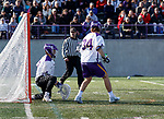 UAlbany Men's Lacrosse defeats Stony Brook on March 31 at Casey Stadium.  JD Colarusso (#9) makes a save.
