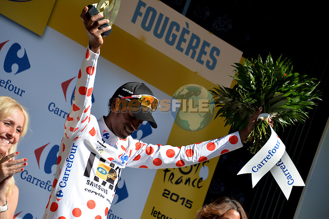 Daniel Teklehaimanot (ERI) MTN-Qhubeka wears the climber's Polka Dot Jersey at the end of Stage 7 of the 2015 Tour de France running 190.5km from Livarot to Fougeres, France. 10th July 2015.<br /> Photo: ASO/P.Perreve/Newsfile