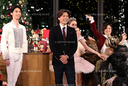 "November 10, 2016, Tokyo, Japan - Tetsuya Kumakawa (C), Japanese ballet dancer and director of the K Ballet Company with his dancers attend the light-up ceremony of a large Christmas tree at the Marunouchi building in Tokyo on Thursday, November 10, 2016. The Marunouchi area started illumination and decoration with motif of ballet dance Tchaikovsky's ""Nutcracker"" through the Christmas Day.  (Photo by Yoshio Tsunoda/AFLO) LWX -ytd-"