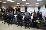 Jersey Central Power & Light President James V. Fakult (C) briefs the media with Congressman Frank Pallone, Jr. (L), Acting Governor Kim Guadango (2nd L) and Monmouth County Sheriff Shaun Golden (R) on Winter Storm Jonas preparations in Union Beach, New Jersey on Friday January 22, 2016.