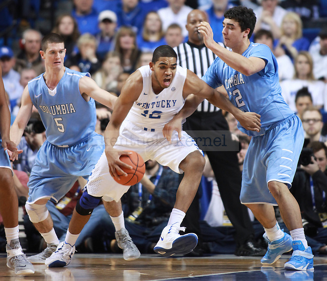 UK forward Karl-Anthony Towns goes to the basket during UK vs. Coumbia at Rupp Arena in Lexington, Ky., on Friday, December 5,  2014. Photo by Emily Wuetcher | Staff
