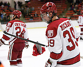 Pier-Olivier Michaud (Harvard - 39) helped pick up a few hats from Biega's hat trick. - The Harvard University Crimson defeated the visiting Colgate University Raiders 6-2 (2 EN) on Friday, January 28, 2011, at Bright Hockey Center in Cambridge, Massachusetts.