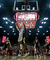 Stanford, CA - January 24, 2020: Francesca Belibi at Maples Pavilion. The Stanford Cardinal defeated the Colorado Buffaloes in overtime, 76-68.