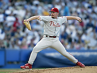 Randy Wolf of the Philadelphia Phillies pitches during a 2002 MLB season game against the Los Angeles Dodgers at Dodger Stadium, in Los Angeles, California. (Larry Goren/Four Seam Images)