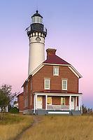 Pictured Rocks National Lakeshore, MI: Sunrise light on Au Sable Light Station (1874) on Au Sable Point