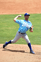 Daytona Cubs pitcher Michael Jensen (17) delivers a pitch during a game against the Tampa Yankees  on April 13, 2014 at George M. Steinbrenner Field in Tampa, Florida.  Tampa defeated Daytona 7-3.  (Mike Janes/Four Seam Images)
