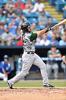 Augusta GreenJackets right fielder Seth Harrison (2) swings at a pitch during a game against the Asheville Tourists at McCormick Field on July 21, 2016 in Asheville, North Carolina. The GreenJackets defeated the Tourists 6-3. (Tony Farlow/Four Seam Images)