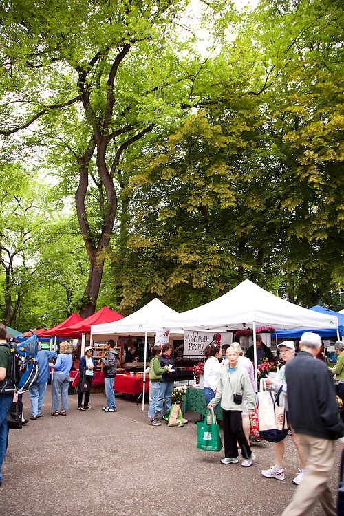 The Portland Farmers' Market on Saturday Mornings in the South Park Blocks offers fresh, organic and locally grown produce, meat, fish and other food products.